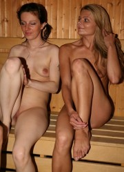 nudists in sauna